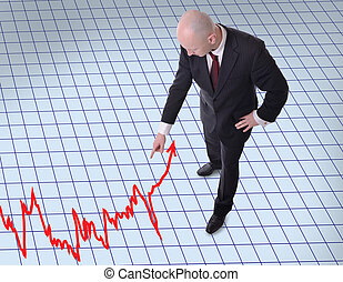 businessman pointing down to graph