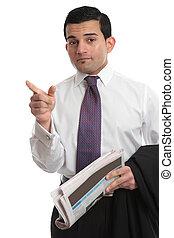 Businessman pointing finger direction