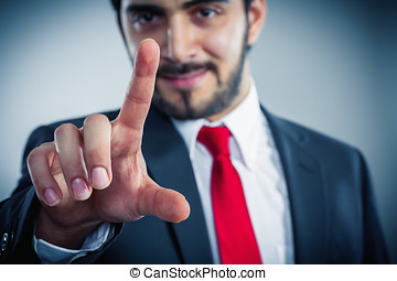 businessman pointing finger to push something you like copyspace