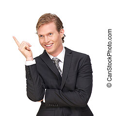 Businessman Pointing Finger Up