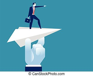 Businessman pointing go to forward. Concept business vector illustration.