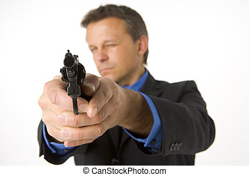 Businessman Pointing Gun