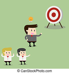 businessman pointing in a target board. Concept of achievement of business goal. Vector flat design illustration