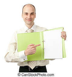 businessman pointing on blank sheet in his folder