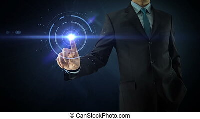 Businessman pointing on social network media concept with abstract users, sms, messages, blue dark background and animated links