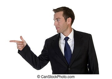 businessman pointing sideways