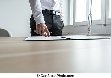 Businessman pointing to a document