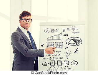 businessman pointing to plan on flip board - business,...