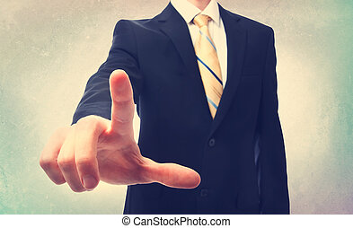 Businessman pointing to something