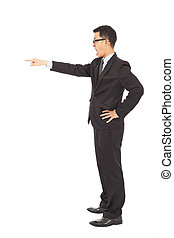 businessman pointing to something with yelling
