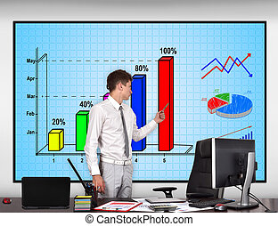 businessman pointing to stock chart