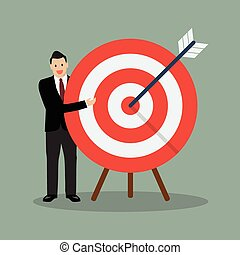 Businessman pointing to the big target