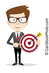 Businessman pointing to the big target.