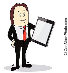 Businessman pointing to the screen of a tablet-pc