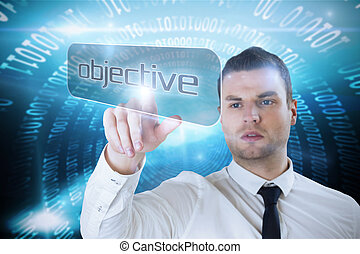 Businessman pointing to word objec