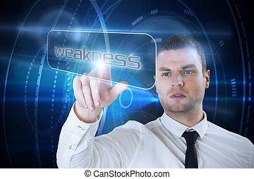 Businessman pointing to word weakne