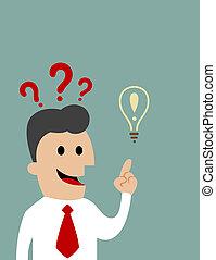 Cartoon inquiring businessman pointing upwards toward a light bulb, concept of creative ideas and intelligence