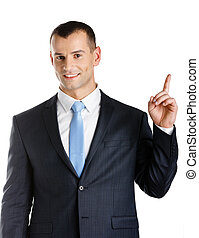 Businessman pointing up hand gesture