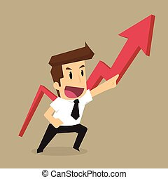 businessman pointing up the arrow, the profit more and more