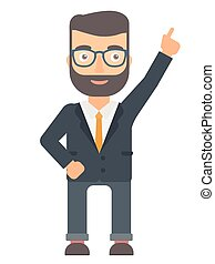 Businessman pointing up with finger.