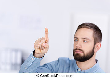 Businessman Pointing While Looking Away