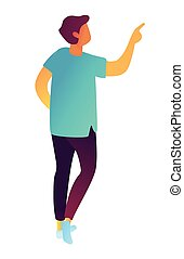Businessman pointing with finger isometric 3D illustration.