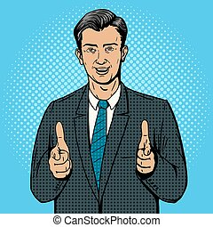 Businessman pointing with two hands pop art vector