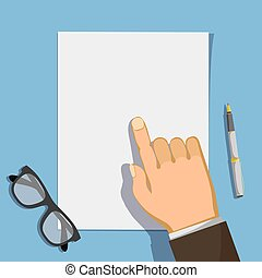 Businessman points a finger at a blank form of a document