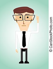 businessman poiting index finger up