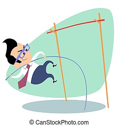 Businessman pole vault height. The image of business as a sport. Businessman in sports situations
