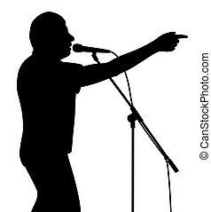 Businessman politician lecturer finger pointing motivational speech or singer is pointing