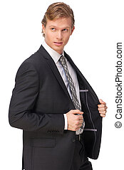 Businessman Posing in Black Suit