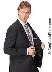 Businessman Posing in Black Suit