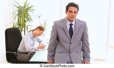 Businessman posing