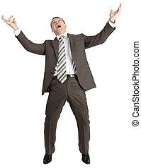 Businessman posing with arms raised