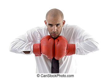 businessman posing with boxing gloves