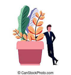 businessman potted plant white background vector ...
