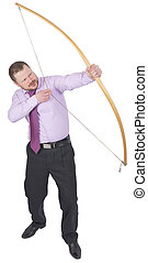 Businessman practicing archery on white background