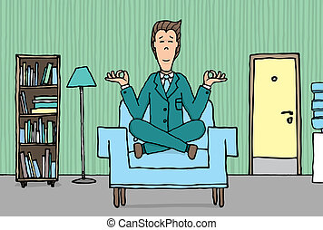 Businessman practising yoga at the office