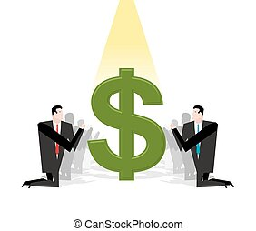Businessman praying to dollar. Financial idol. Worship of money. Prayer cash. People are standing on their knees in front of dollar sign. Allegory illustration for magazine business