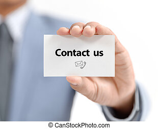 businessman present contact us word on white paper