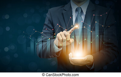 Businessman present growing graph on hand, successful business