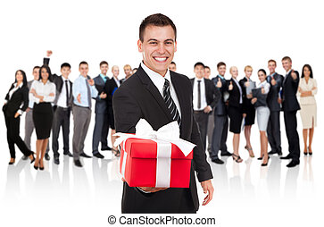 businessman present - business man hold gift box present...