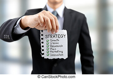 businessman present strategy growth, vision, research, plan, marketing and innovation concept