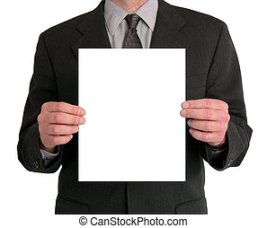 Image of a businessman's torso. He is holding a blank sheet of paper in front of him. Taken with a Panasonic FZ30 Lumix, and manipulated in Photoshop CS.