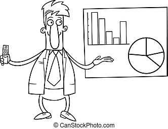businessman presentation coloring page - Black and White...