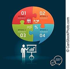 Businessman presentation diagram.