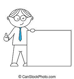 businessman presenting a blank pape