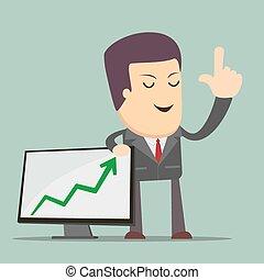 Businessman Presenting Business Growth Chart. Businessmen...