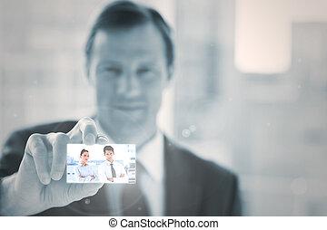 Businessman presenting digital interface